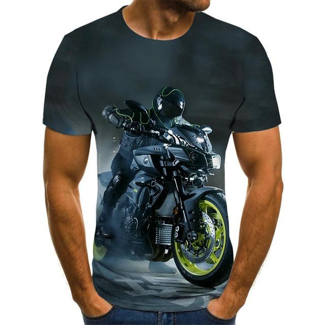 Cool racing graphics T-shirt motorcycle 3D printed men's T-shirt summer fashion tops punk T-shirt men's plus size streetwear