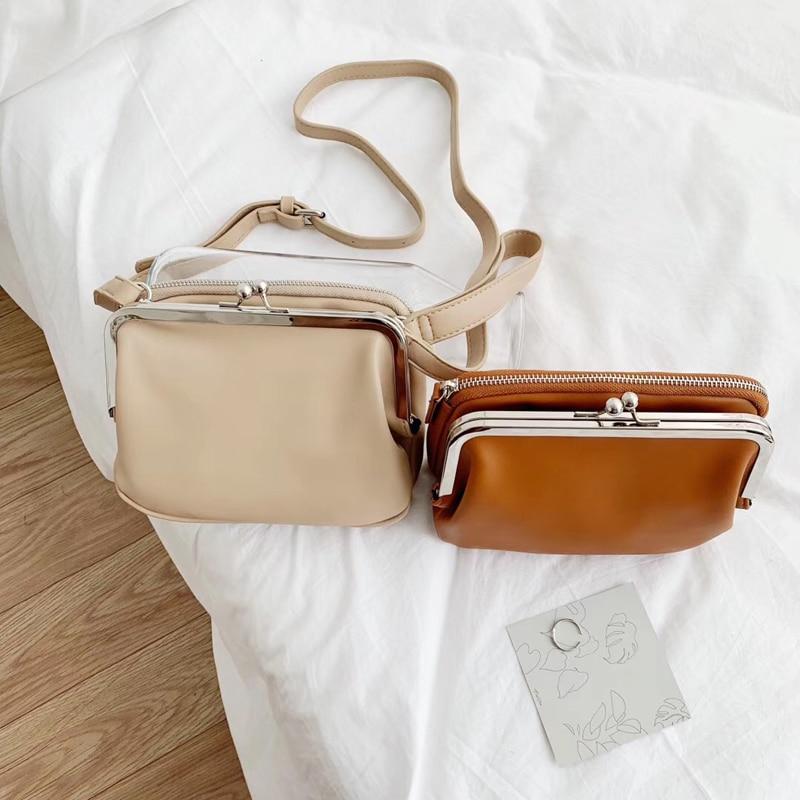 2020 Chic Women Mini Clip Bags Ladies Korean Style Clutch Bag PU Leather Fashion Female Wrist Purse Youth Crossbody Shoulder Bag
