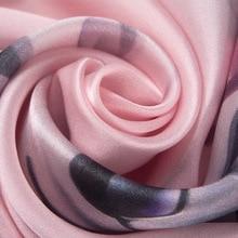 100% Silk Scarf For Women Floral Print Hijab Scarfs Female 170*50cm Shawl and Wraps Elegant Neckerchief Hand Rolled Scarves 2019