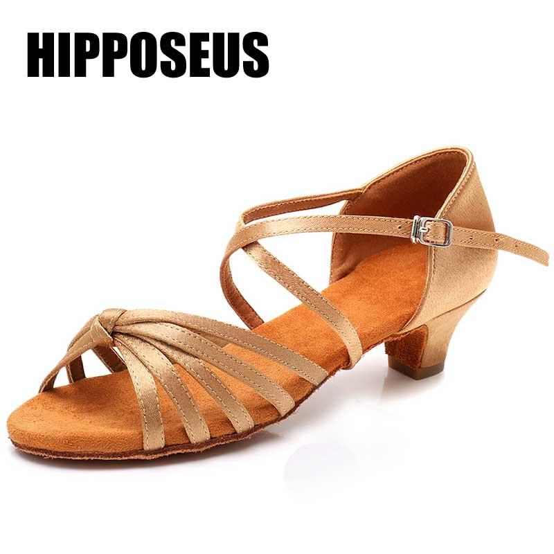 Ballroom Girls Dance Shoes Children Low Heel Ladies Women Latin Dance Shoes Women Professional Dancing Shoes about 3.5cm Heels