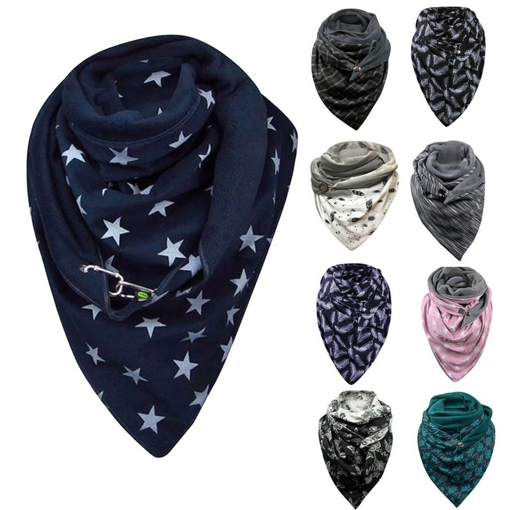 Fashion Women Soild Dot Printing Button Soft Wrap Casual Warm Scarves Shawls Soft Casual 2020 Dropshipping шарфов#G1