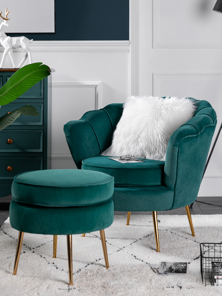 Single sofa Nordic net red light luxury balcony bedroom clothing store fabric B&B ins metal sofa chair