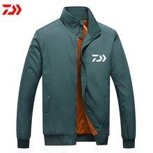 Daiwa водонепроницаемая рыболовная одежда из толстого хлопка зимняя Мужская ветрозащитная термальная однотонная рыболовная куртка анти-усадочная бархатная полная трикотажная одежда