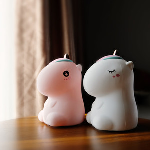 Image 5 - Unicorn LED Night Light Touch Sensor Colorful USB Rechargeable Cartoon Silicone Bedroom Bedside Lamp for Children Kids Baby Gift
