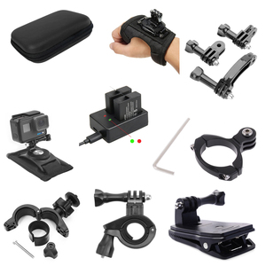 Image 1 - Cámara de acción para Go Pro, accesorios para bicicleta, motocicleta, soporte de montaje, Clip, correa de brazo para Gopro Hero 9/8/7/6/5/4/3 + negro