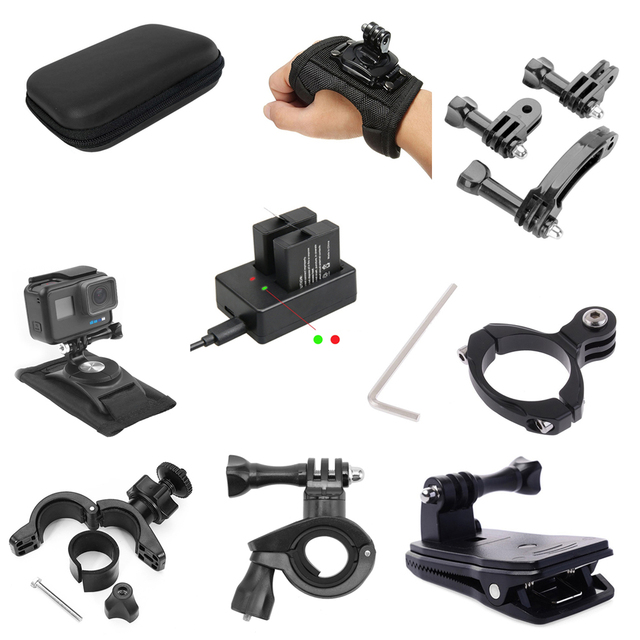 Cámara de acción para Go Pro, accesorios para bicicleta, motocicleta, soporte de montaje, Clip, correa de brazo para Gopro Hero 9/8/7/6/5/4/3 + negro