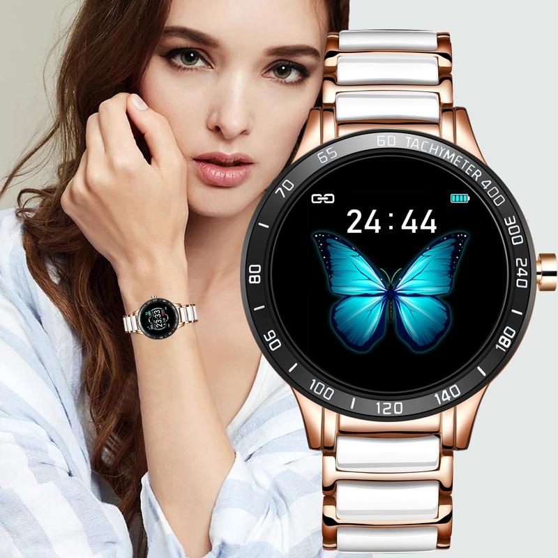 En este momento de lujo Reloj Inteligente mujer impermeable seguidor de actividad/deporte para Android IOS Reloj Inteligente correa de cerámica Inteligente Reloj de los hombres