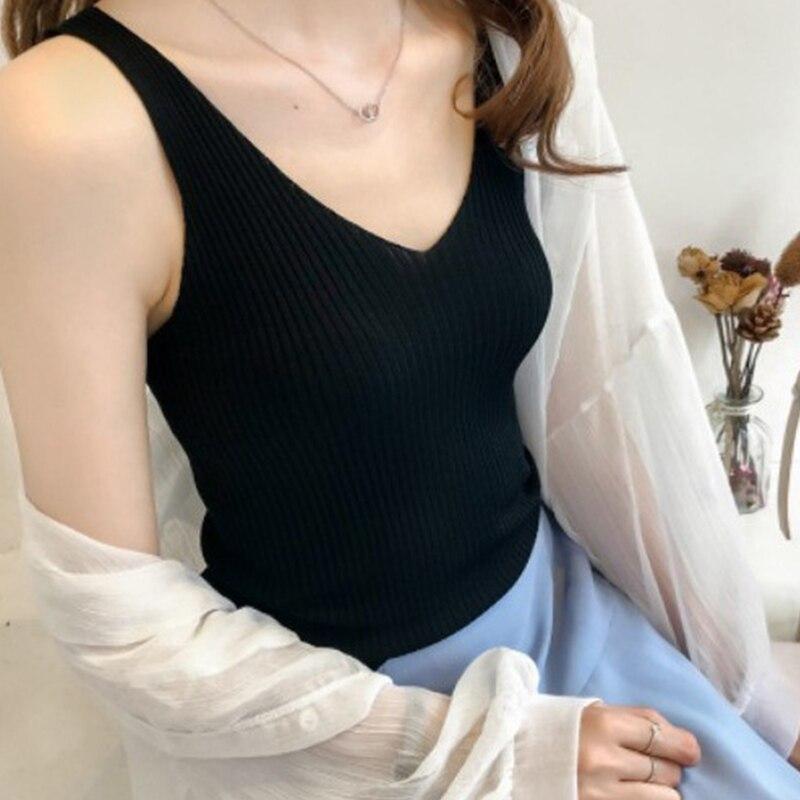Сексуальные вязанные топы с v-образным вырезом, повседневное тонкое нижнее белье, женские летние футболки женские топы на бретелях, винтажн...