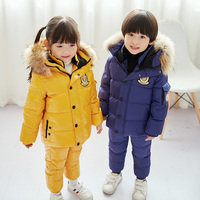 30 degrees winter children's down jacket suit Boy waterproof thick coat + warm down pants two piece suit Girl down ski suit red