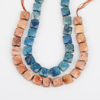 Blue Color Square Coral Jades Slice Spacer Beads Jewelry Craft Women,Nugget Flower Fossils Cube Beads Necklace DIY EF CT 317AMFJ