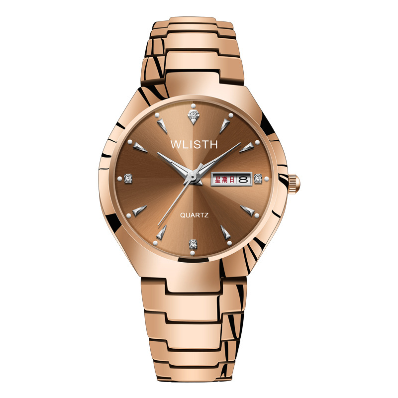 Lover Watch Couple Watches Gold Wristwatch Mens Tungsten Steel Quartz Watch Double Calendar Luminous Waterproof Fashion Korean
