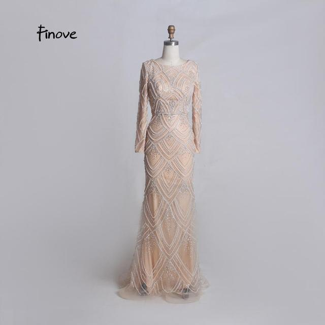 Finove Elegant Evening Dresses Long 2020 New Arrivals O neck Long Sleeves With Fully Beaded Crystals Floor Length Mermaid Dress