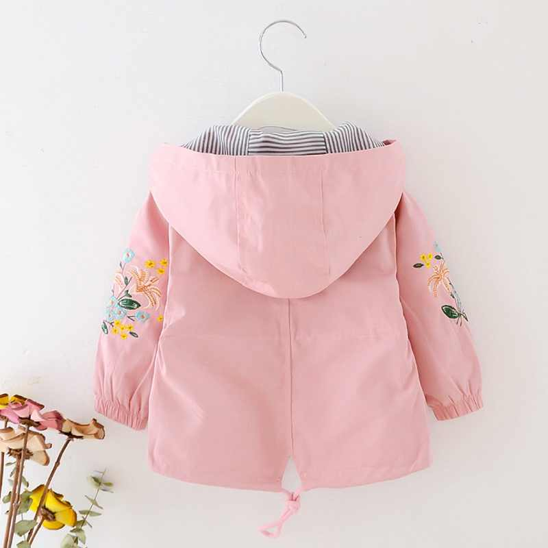 Girls Jackets Autumn Spring Kids Girl Hooded Coat Flower Embroidery Children Outerwear Clothing for Little Girl Outfits 1-5T