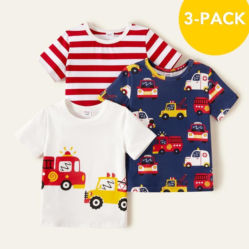 PatPat 2021 Новая летняя хлопковая одежда из 3 предметов для мальчиков ясельного возраста, скорой помощи специализированная в полоску футболки для детей, для мальчиков, топы с короткими рукавами для маленького мальчика, детская одежда|Футболки| | АлиЭкспресс
