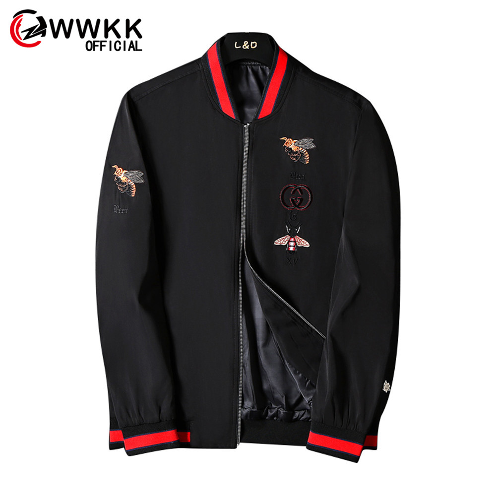 WWKK Men Embroidery New Thicken Jackets Pilot Bomber Jacket Male Fashion Solid Color Hip Hop Streetwear Plus Velvet Hooded Coats