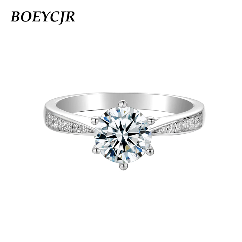 BOEYCJR 925 Silver  1ct F Color Moissanite VVS1 Elegant  6 Claws Engagement Wedding Ring With National Certificate For Women