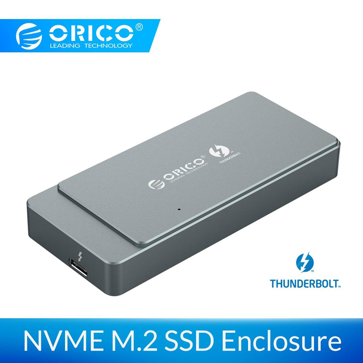 ORICO Thunderbolt 3 40 Гбит/с M.2 Накопитель SSD с протоколом NVME вспомогательное устройство 2 ТБ алюминий с 40 Гбит/с Thunderbolt 3 C к C кабель для окна Mac