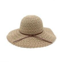 Панама женская кружевная мягкая складывающаяся плетеная от солнца