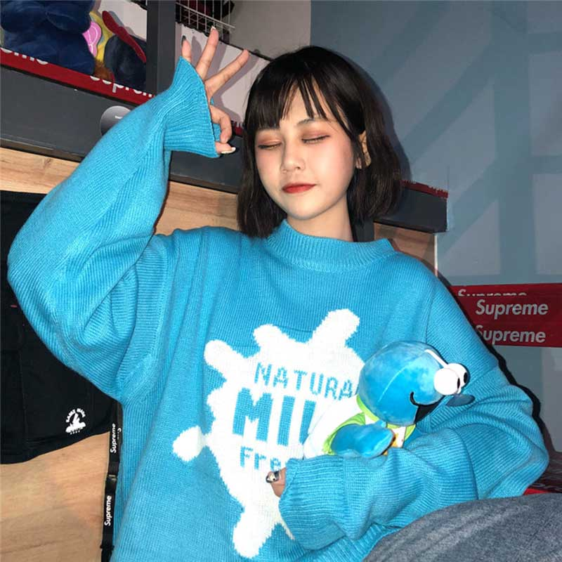 NiceMix Winter Thick Sweater Pullovers Women Long Sleeve Warm Basic Turtleneck Female Jumpers Top Blue Taille Size Clothes New