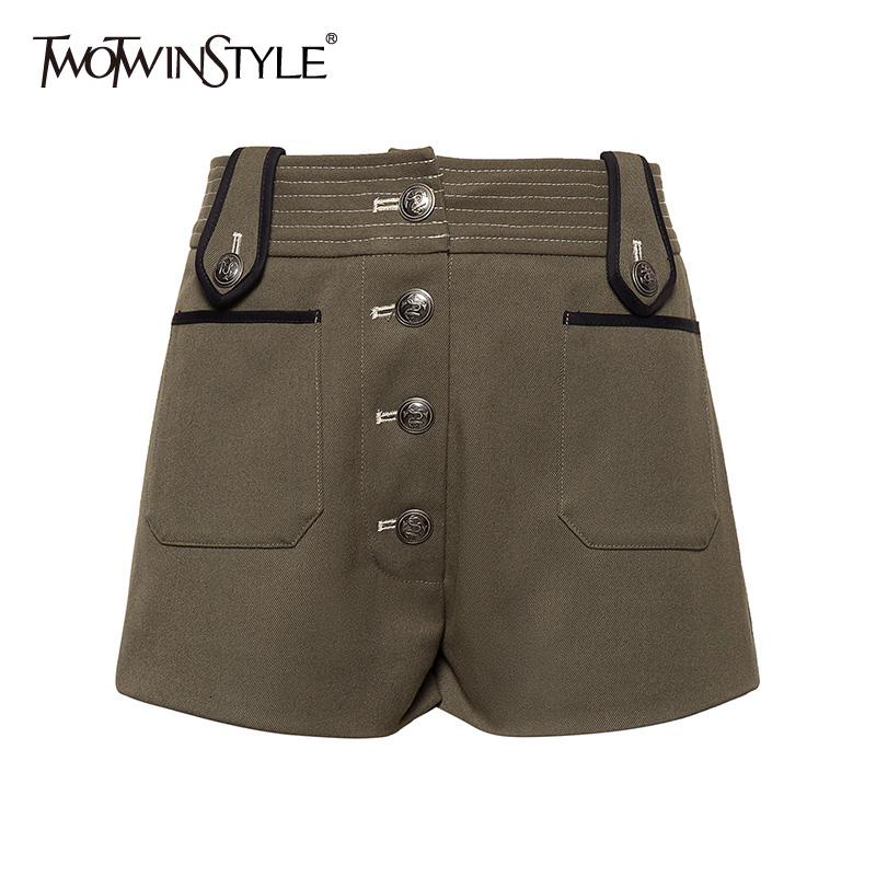 TWOTWINSTYLE Casual Tweed Shorts For Female High Waist Loose Hit Color Safari Style Women Short Pants Fashion Clothing 2019 Tide
