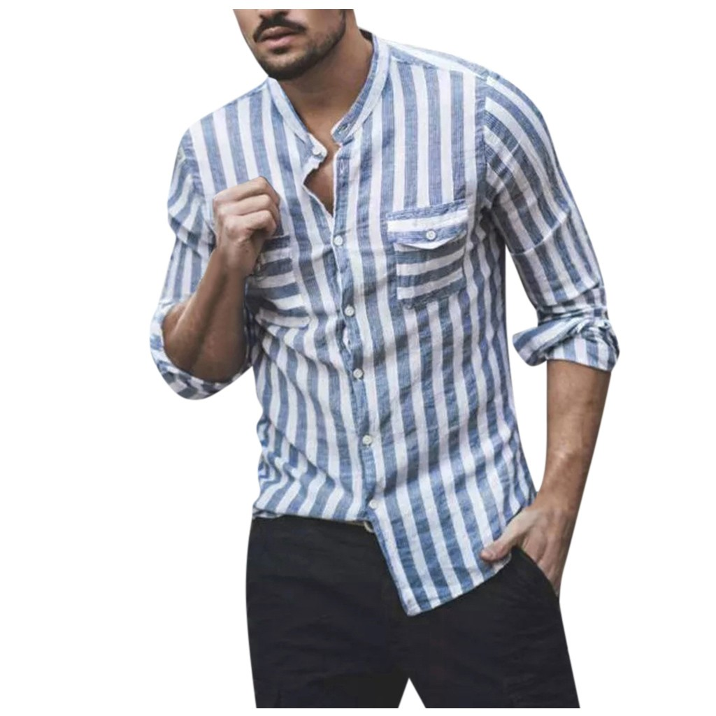 Fashion New 2019 Men Long Sleeve Shirts Male Striped Classic-fit Comfort Soft Casual Button-Down Shirt Casual Male Shirt Tops