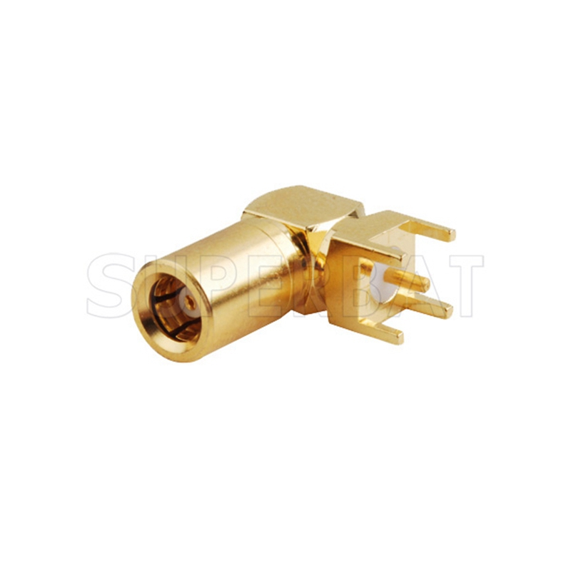 Superbat SMB Jack pin Right Angle thru hole PCB Mount RF Coaxial Connector Goldplated