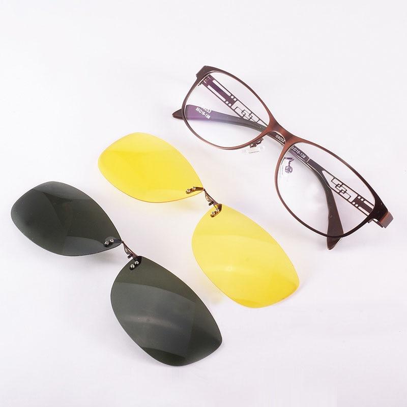 Brýle rám Ladies Oval Brown Metal Magnet Clip Brýle Myopie - Příslušenství pro oděvy