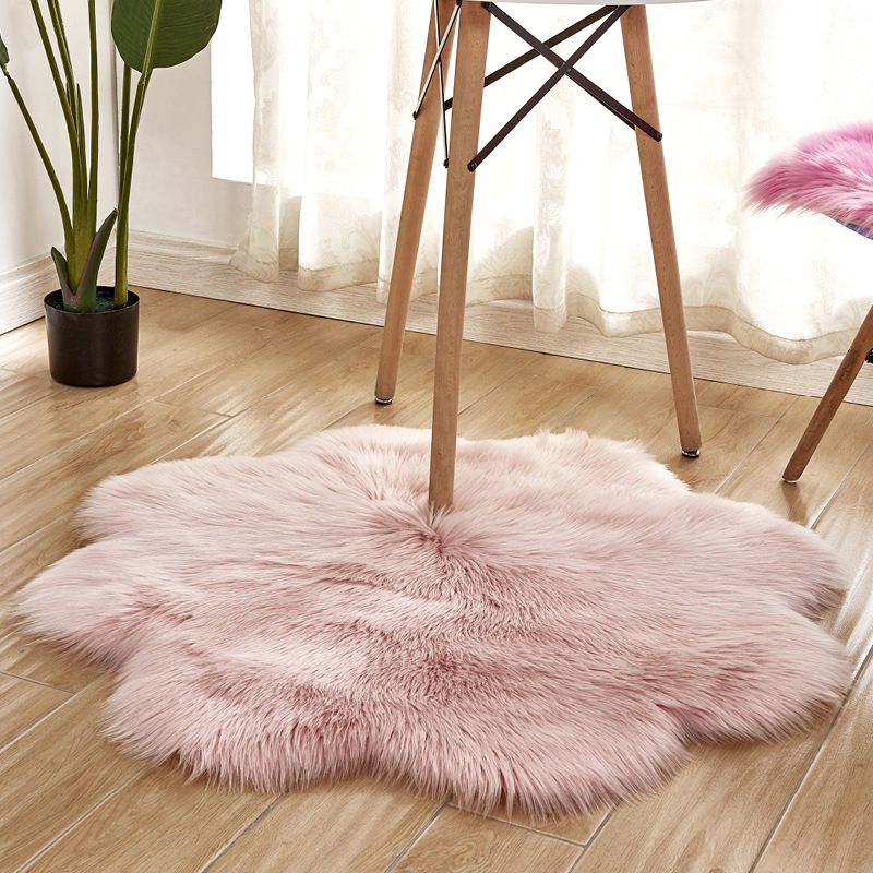 Flower Shape Hairy Carpets Sheepskin Fur Skin Fluffy Bedroom Faux Mats Washable Artificial Textile Area Square Rugs Home Decor