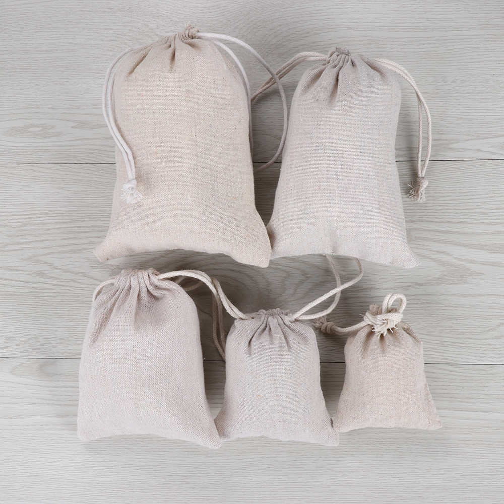 1PC New Cotton Plain Candy Organizer Jute Linen Gift Bags Drawstring Pouch Home Decoration Sack Food Storage Wedding Accessories