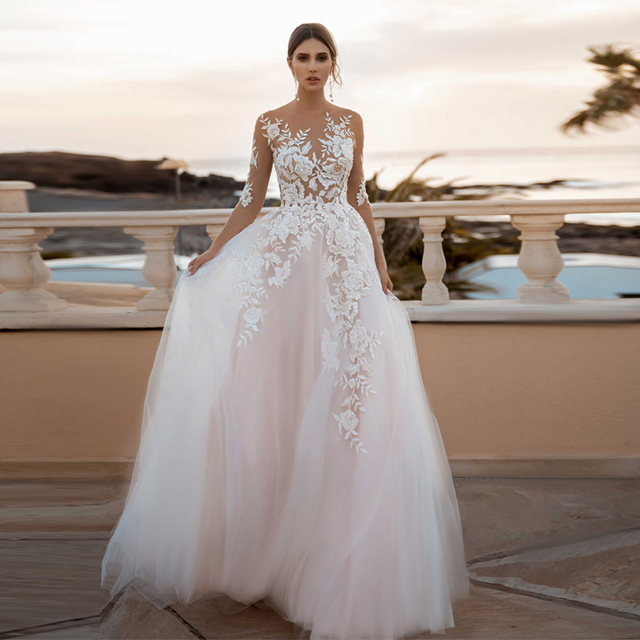 Sheer 3/4 Sleeves See Through Floral Applique Blush Wedding Dress Sexy Illusion Lace Wedding Dresses 1
