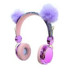 Милая гарнитура для девочек, мягкие проводные наушники с пышным шариком и котом, с микрофоном, мобильный телефон, геймерская Музыкальная гарнитура для iPhone, Samsung, LG