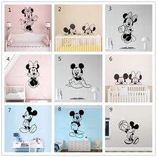Дисней 9 стилей Микки Минни Маус мультфильм наклейки на стену Дети Спальня Искусство Декор милый ребенок Детская виниловые наклейки на стены