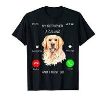 Camiseta meu retriever está chamando eu devo ir t amante do cão