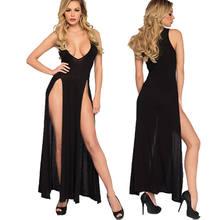 Col en v profond Lingerie Sexy sous-vêtement noir nuisette fendue Lingerie Sexy chaude érotique vêtements de nuit Spaghetti sangle longue robe XXL