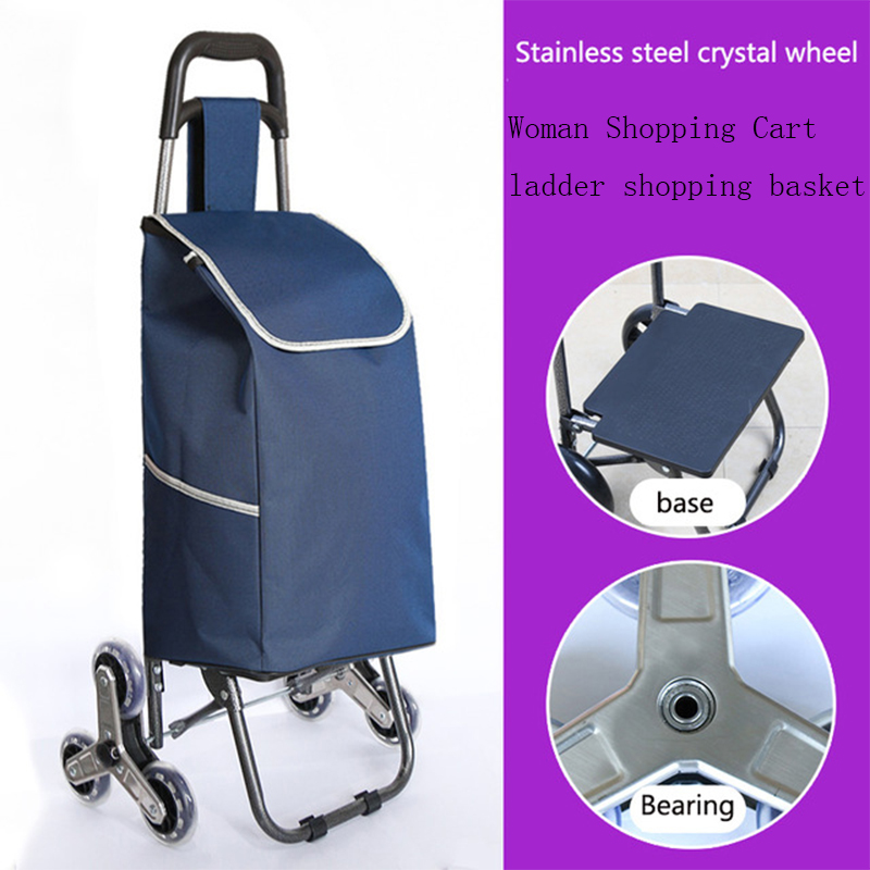 For Elderly Upstair Shopping Cart Trolley Large Item Trolley Case Folding Trailer Trolley Household Portable Women Shopping Bags