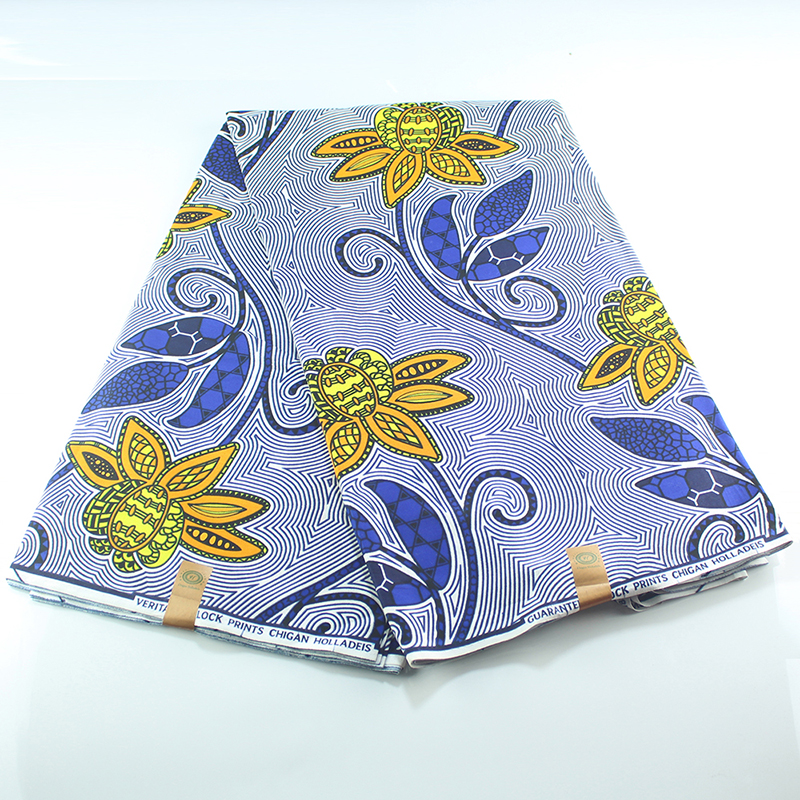 2020 Hottest Sale African Veritable Guaranteed 100% Cotton Wax Windmill Print Fabric 6 Yards Wax Africain Nederlands