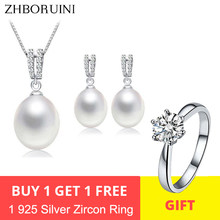 ZHBORUINI 2019 Pearl Jewelry Set Natural Freshwater Pearl Necklace Drop Earrings Zircon 925 Sterling Silver Jewelry For Women(China)