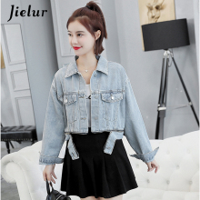 Jielur Autumn Winter Denim Coat Women Pockets Zippers Jacket Long Sleeve Loose Jeans Short Outwear Slim 2019 New S-XL
