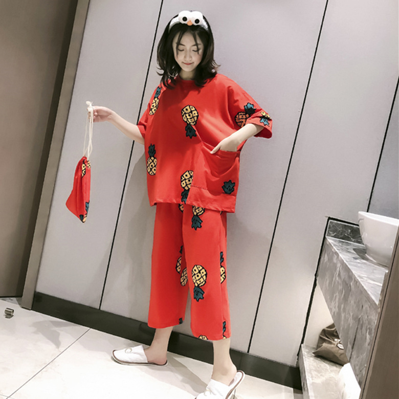 Summer Short-sleeved Trousers Pajamas Women's Red Pineapple M-XXL Send Cloth Bag