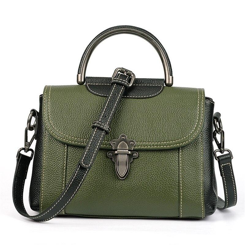 Womens Genuine Leather Handbags Top-handle Bags Vintage Flap Shoulder Bags Lady Crossbody Small Messenger Bag Bolsas Feminina