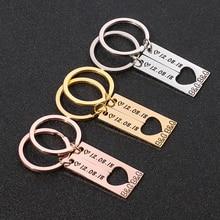Customized Heart Couples Keychain Women Men Personalized Boyfriend Girlfriend Keyring Stainless Steel Key Chain Anniversary Gift