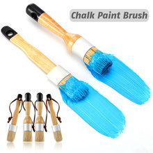 4PCS Bristles Chalk Wax Brushes Flat And Round Chalked Paint Brush Wax Furniture Brushes Multi-Use Brushes For Tables Chairs
