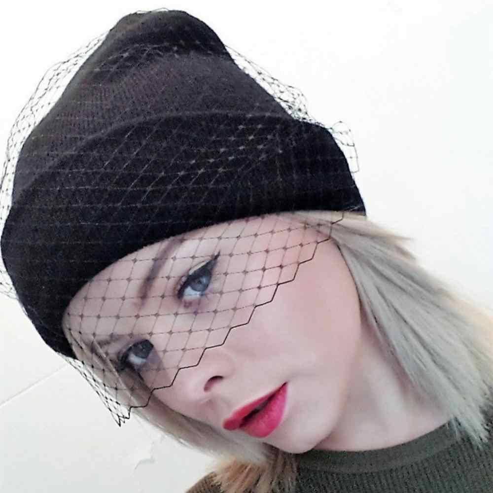 ผู้หญิง Fishnet Veil ถัก Skullies หมวก Femme ฤดูหนาว WARM Street Beanie หมวกเลดี้เซ็กซี่ตาข่าย Dance PARTY Bonnet gorros