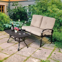 2 Pcs Patio Outdoor Cushioned Coffee Table Seat High Quality Outdoor Furniture Couch Tables and Chairs Patio HW51784