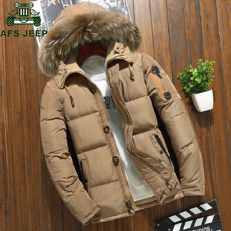 Winter Jacket Parkas Windbreaker Hooded Snow White-Duck-Down Russia Overcoat Men Warm title=