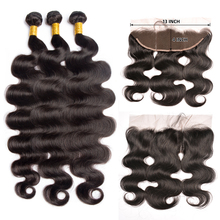 Maxine Body Wave Bundles with Frontal Closure 13x4 Lace Frontal Closure with Bundles Peruvian Human Hair Bundles with Frontal