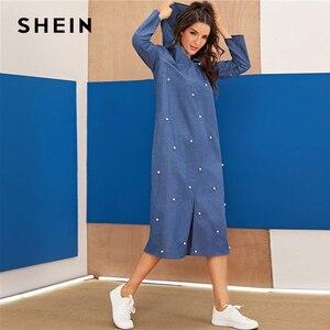 Image 4 - שיין כחול העבאיה פניני חרוזים פיצול Hem ינס הסווטשרט שמלת נשים סתיו ארוך שרוול מוצק Loose מקרית ארוך שמלות