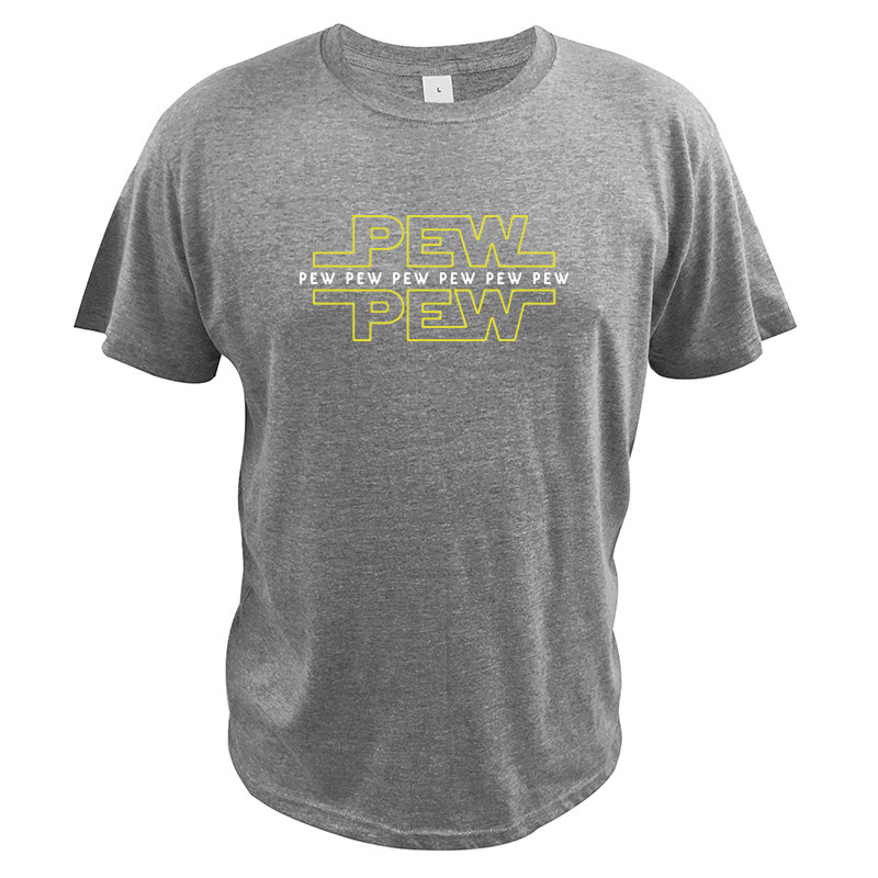 Star Wars T Shirt Letters Design PEW PEW PEW Printed Tshirt 100% Cotton Soft Tee Shirt Homme Crew Neck Fitness Tops