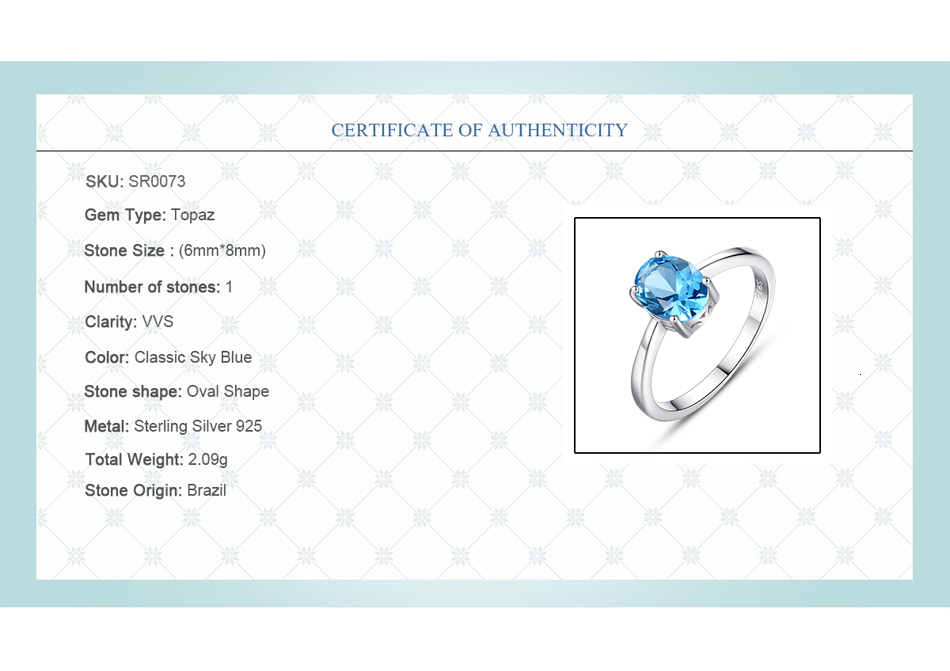 He0fca99ce39448668adbf56686997362I CZCITY Natural Solitaire Sky Blue Oval Topaz Stone Sterling Silver Ring For Women Fashion S925 Fine Jewelry Finger Band Rings