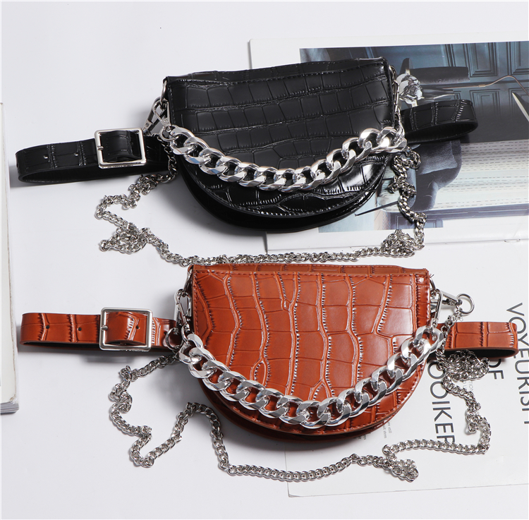 Semicircle Women Alligator Pattern Waist Packs CROCO PU Leather Waist Belt WIht Phone Bag  DOuble Chains Saddle Bag SHoulder Bag